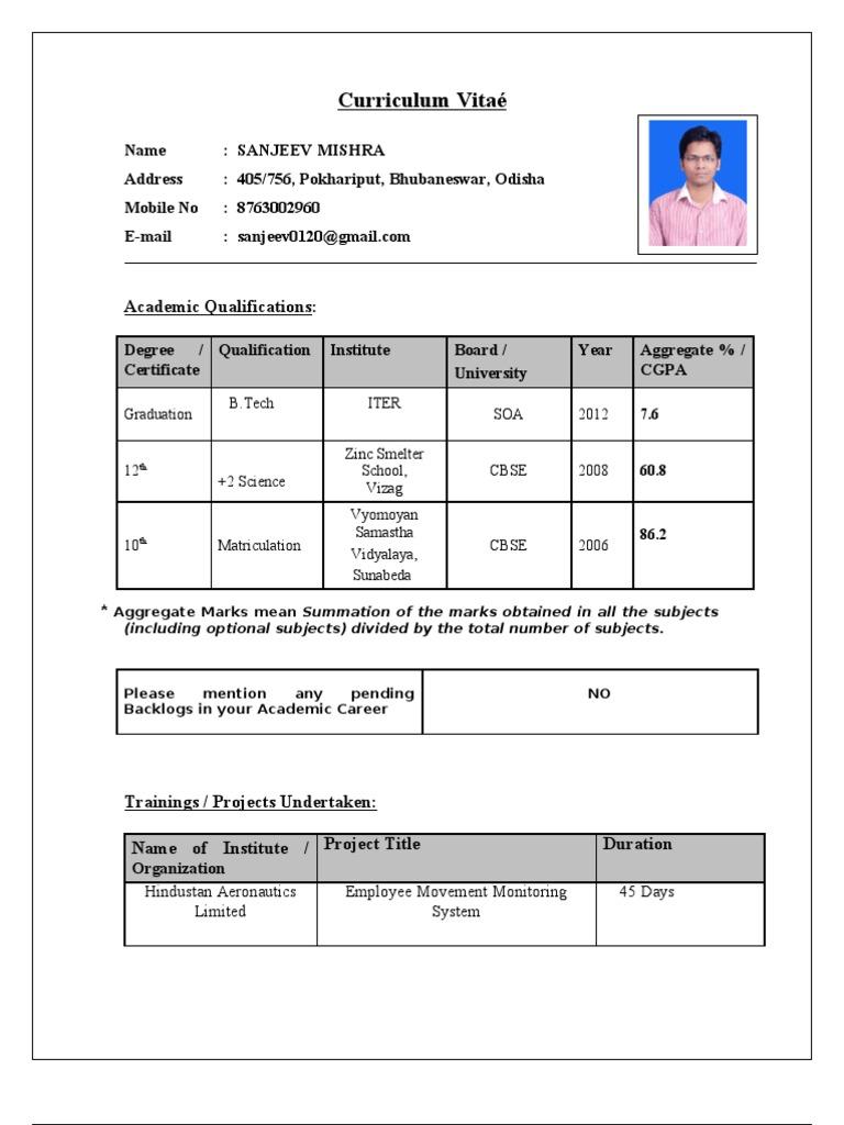 cv for tcs - Resume Format For Freshers B Tech Aeronautical