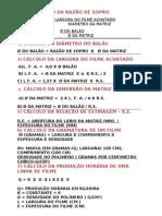 Formulas de Calculo Para Linhas de Filme Tubular