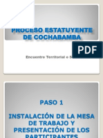 Metodología para recoger propuestas del Estatuto de Cochabamba
