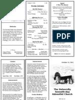 Church Bulletin - October 15, 2011