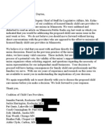 Coalition of Child Care Providers Letter to Dayton