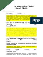 Private Placement Memorandum (Series A Round)