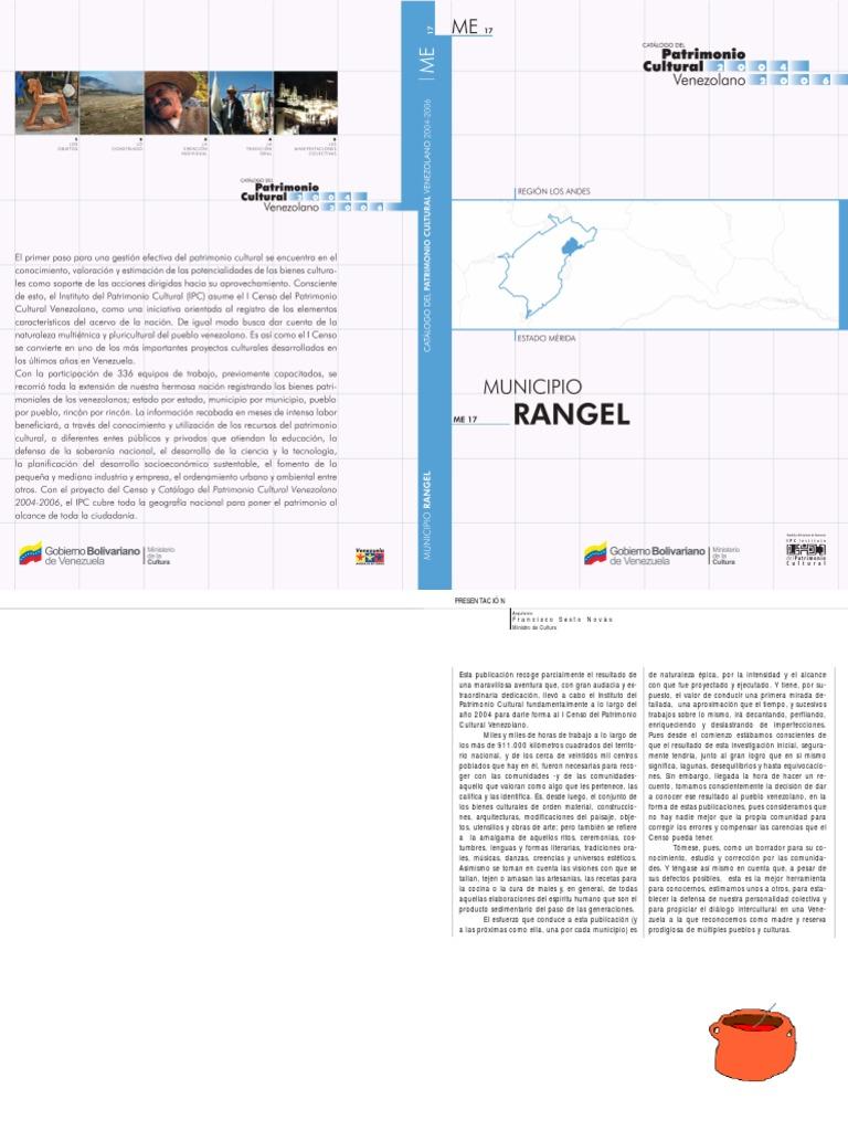 Catalogo del Patrimonio cultural del Municipio Rangel del estado Merida.