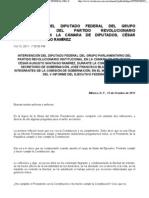 Intervención del Diputado César Augusto Santiago durante la comparecencia del Secretario de Gobernación, José Fco. Blake Mora