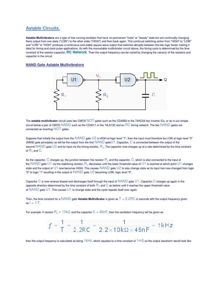 Astable Circuits Electronic Oscillator Capacitor Circuit Diagram Oscillatorcircuit Signalprocessing