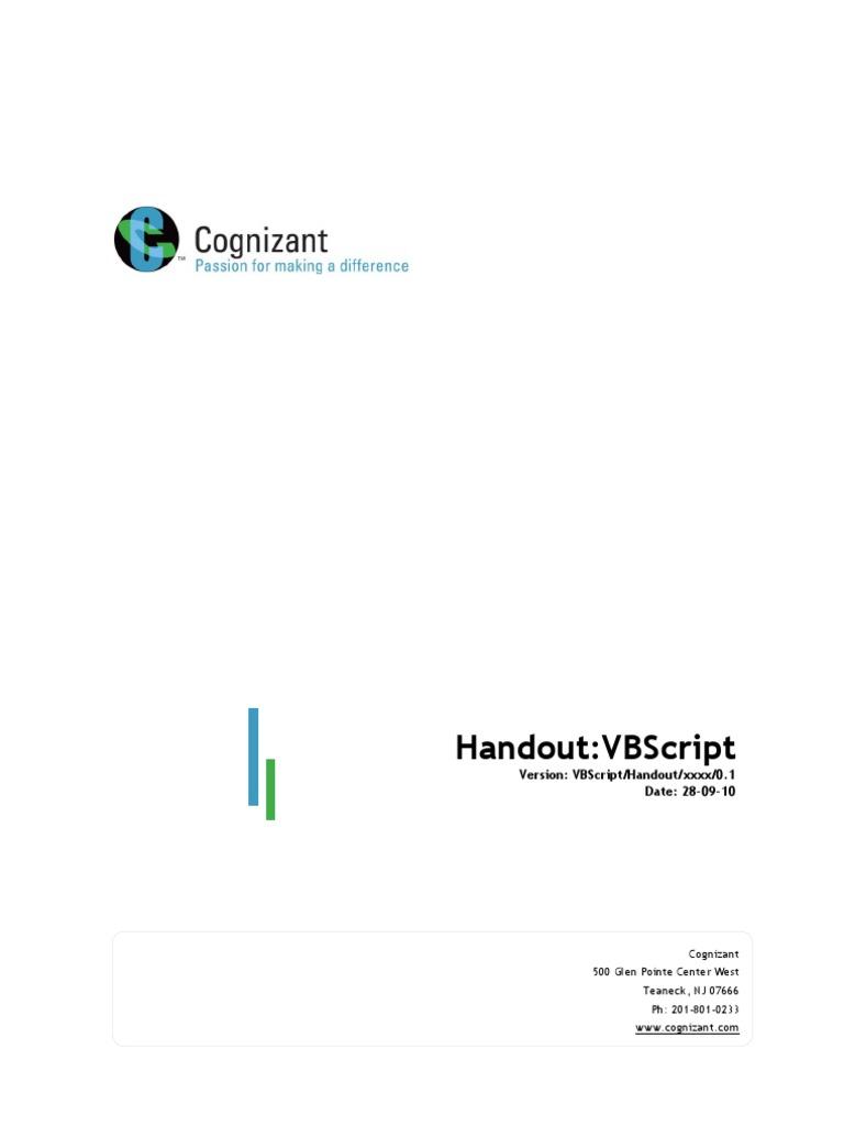 VBScript Handout | Scripting Language | Internet Information