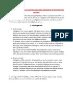 Chapitre 1 Obligations Et Contrats Concepts, Classification Et Formation Des Contrats.