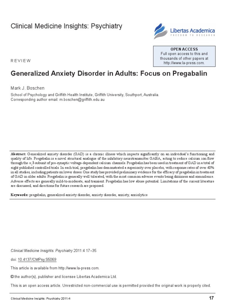 f 2699 CMPsy Generalized Anxiety Disorder in Adults Focus on