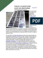 Cómo construir un panel solar de producción de electricidad
