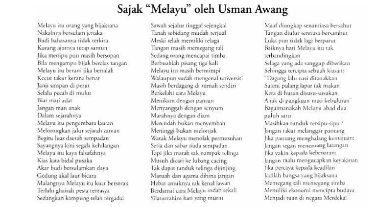 Sajak Melayu Oleh Usman Awang