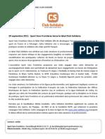 La FSGL partenaire de Sport Sans Frontières pour son label Club Solidaire