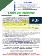 lettre aux adhérents octobre 2011