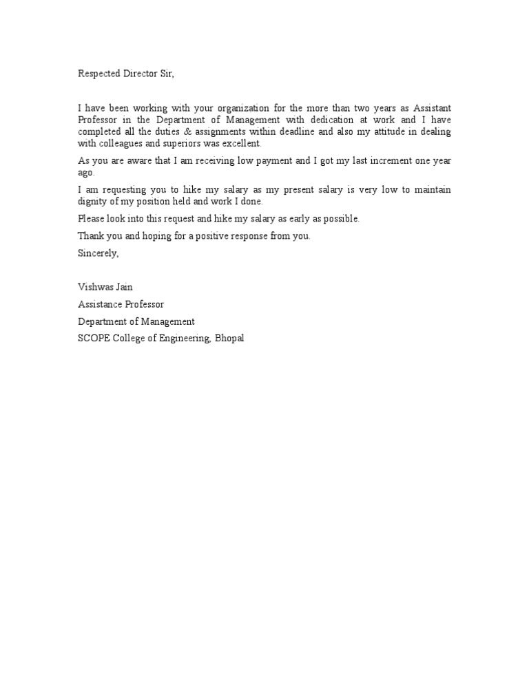 Letter for Salary Increment