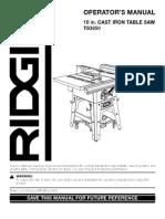Ridgid TS3650.Manual