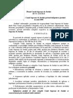 HOTĂRÎREA nr. 1 (2009) privind activitatea Curţii Supreme de Justiţie în anul 2008 (1)