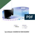 Samsung syncmaster 940bw / 941bw / 920bw  Manual