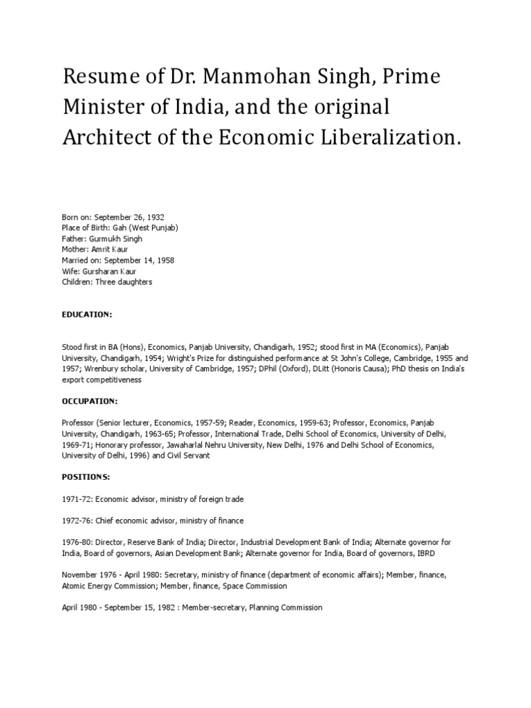 resume of dr manmohan singh prime minister of india