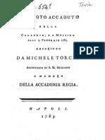 M. Torcia, Tremuoto accaduto nella Calabria e a Messina  alli 5 febbraio 1783