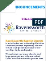 Ravensworth Baptist Church Announcements, 10/16/11