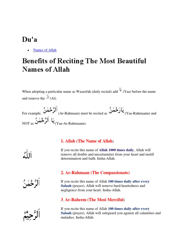 Allah 99 Names | Religious Behaviour And Experience