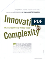 Innovation vs Complexity