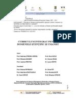 Curriculum Integrat Pentru Domeniile Stiintific Si Umanist