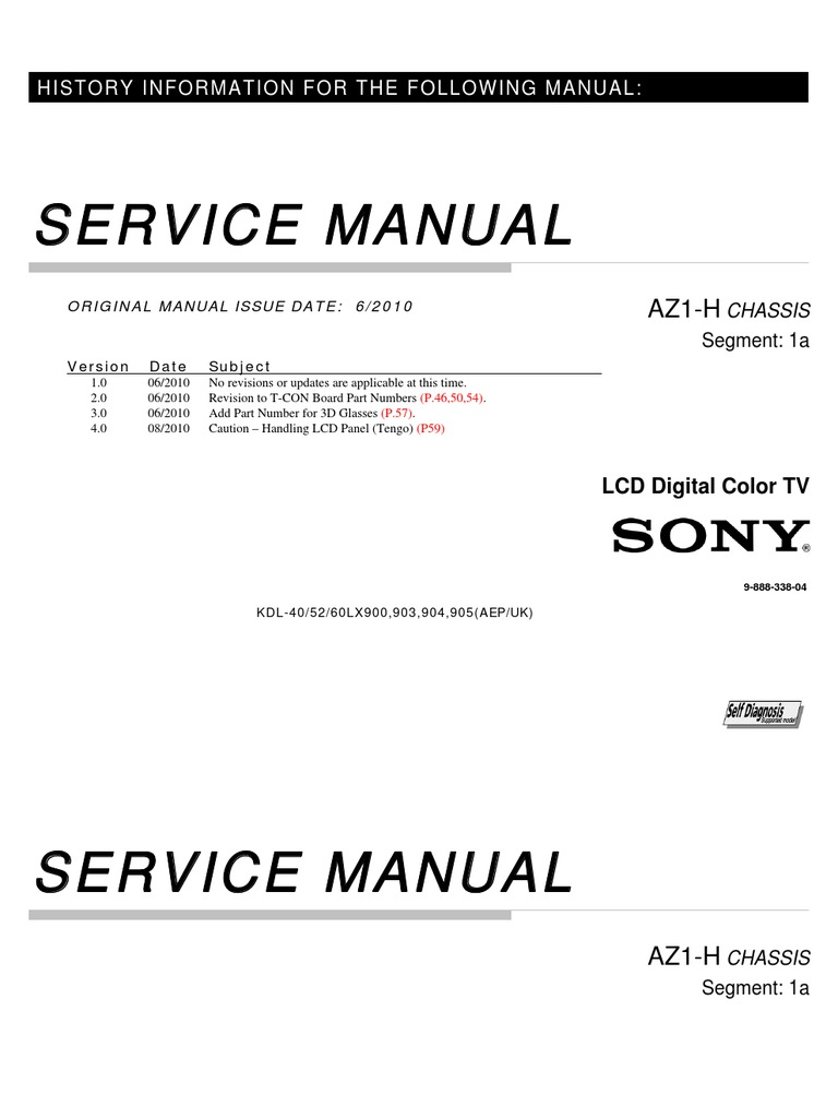 Service Repair Manual For Sony KDL 40LX40   Resistor ...
