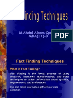 Fact Finding Techniques Intelligence Analysis Computing Essai Gratuit De 30 Jours Scribd