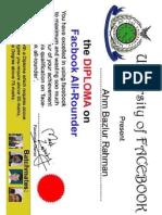 Diploma Certificate of AHM Bazlur Rahman-S21BR from Facebook
