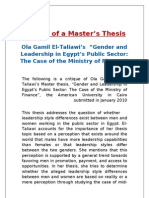 Critique of a Masters Thesis