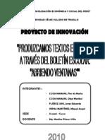 PROYECTO DE INNOVACIÓN BOLETIN ESCOLAR DE PITUMARCA - 2010