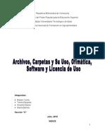 Carpetas y Archivos - Ofimatica - Software- Aplicaciones - Licencia de Uso