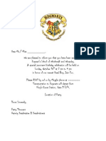 Blank Harry Potter Invitation