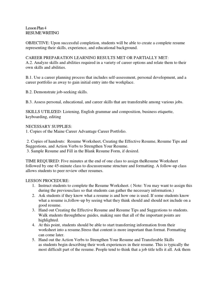 Lesson Plan For Resume Writing 1 R Sum
