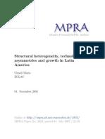 Heterogeneidad estructural, asimetrías tecnológicas y crecimiento en América Latina