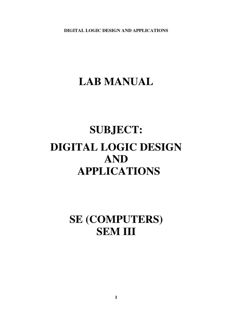 Logic Design Lab Manual