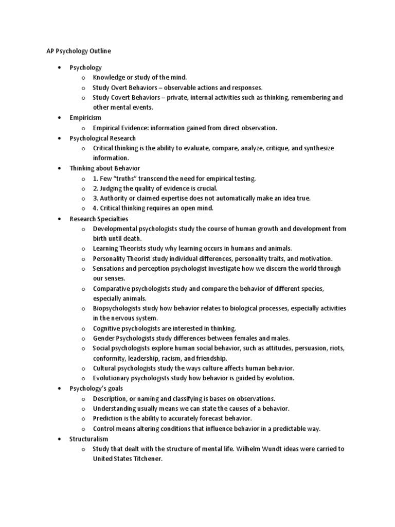 AP Psychology Outline | Behaviorism | Psychology & Cognitive