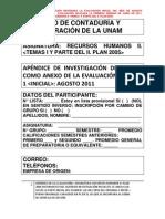 urgente remision de APÉNDICE DE LA EVALUACIÓN  I DE AGOSTO PARA ANEXAR AL EXAMEN DE RH II
