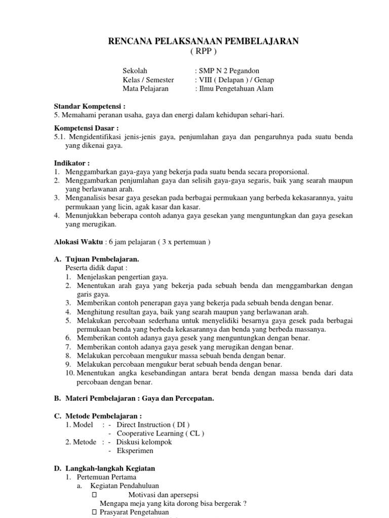 Rpp Ipa Kelas 8 Semester 2