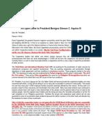 An Open Letter to President Benigno Simeon C. Aquino III