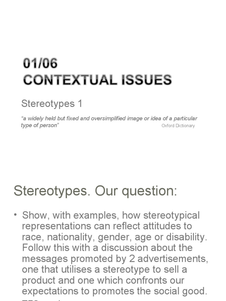 issues reader 2: stereotypes1 11 | stereotypes | social group