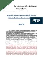 Comentários sobre questões de Direito Administrativo SEE MG - aula 02
