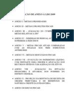 01.001 - RELAÇÃO DE ANEXOS À LDO 2009