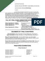 Fall 2011 Exam Schedule Sept. 2