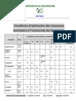 Conditions d'Admission a Udz