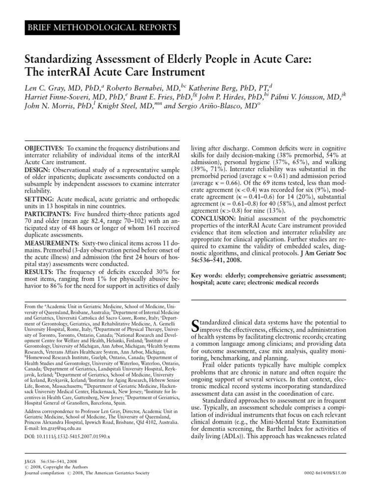 Berg katherine physical therapy - Acute Care Interrai Instrument Elderly Geriatrics Educational Assessment
