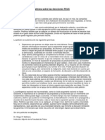 Carta Del Dr. Diego Maltrana Sobre Las Elecciones FEUC