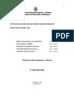 TÉCNICAS DE RECRUTAMENTO E SELEÇÃO - DESAFIO DE APRENDIZAGEM