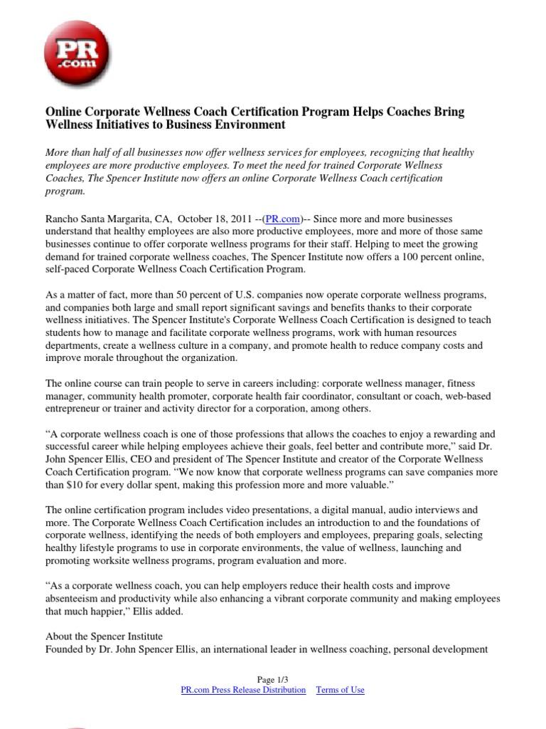 Online Corporate Wellness Coach Certification Program Helps Coaches