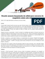 Ricardo anuncia lançamento do edital para concurso do magistério ainda este mês
